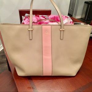Kate Spade harmony tote in blush and beige euc